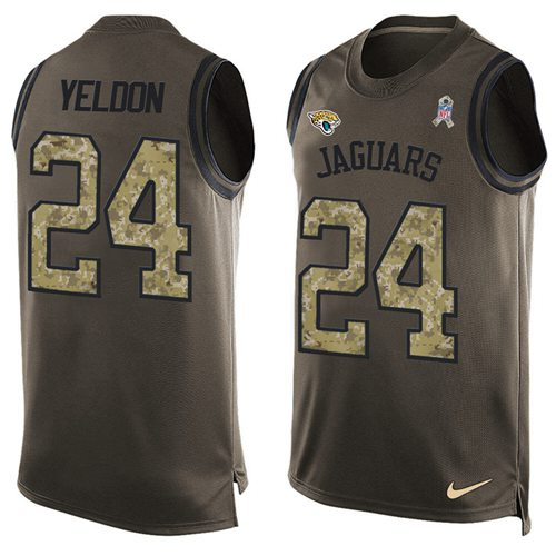 Nike Jaguars #24 T.J. Yeldon Green Men's Stitched NFL Limited Salute To Service Tank Top Jersey